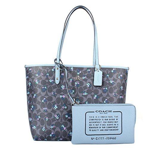 ca3ef4d54f3 Coach F59460 Signature C Ranch Floral Reversible City Tote Denim ...