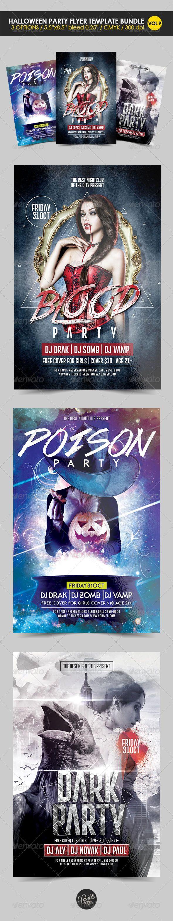 Halloween Party Flyer Template Bundle Vol. 9 | Halloween party ...