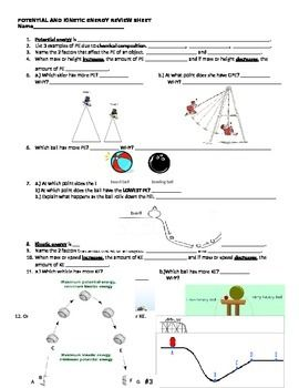 Potential and Kinetic Energy Review Sheet | Kinetic energy ...