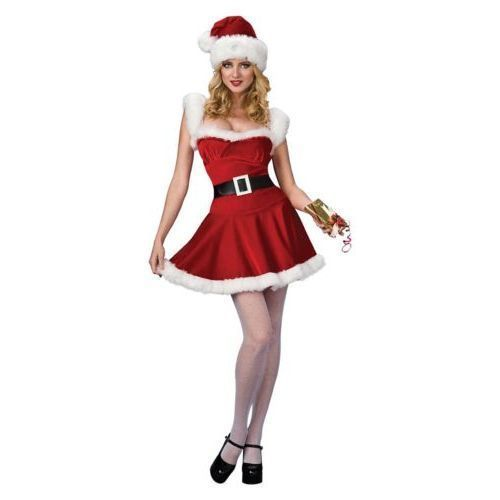 Women/'s Christmas Baby Burlesque Santa Fancy Dress Costume Corset Style with Hat