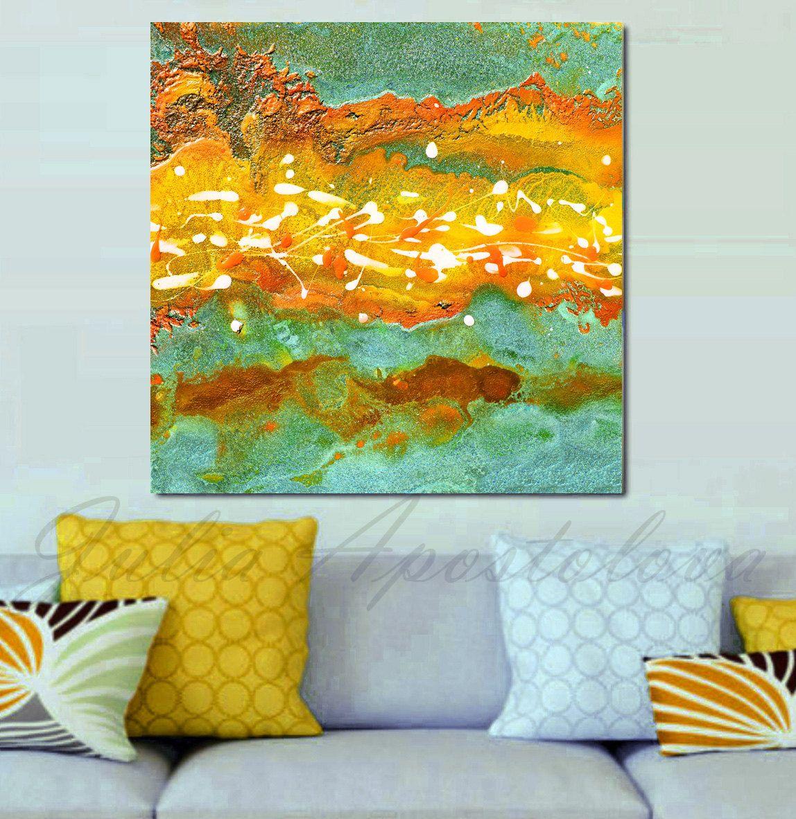 Abstract Art Print Mustard Yellow Teal Large by JuliaApostolova ...