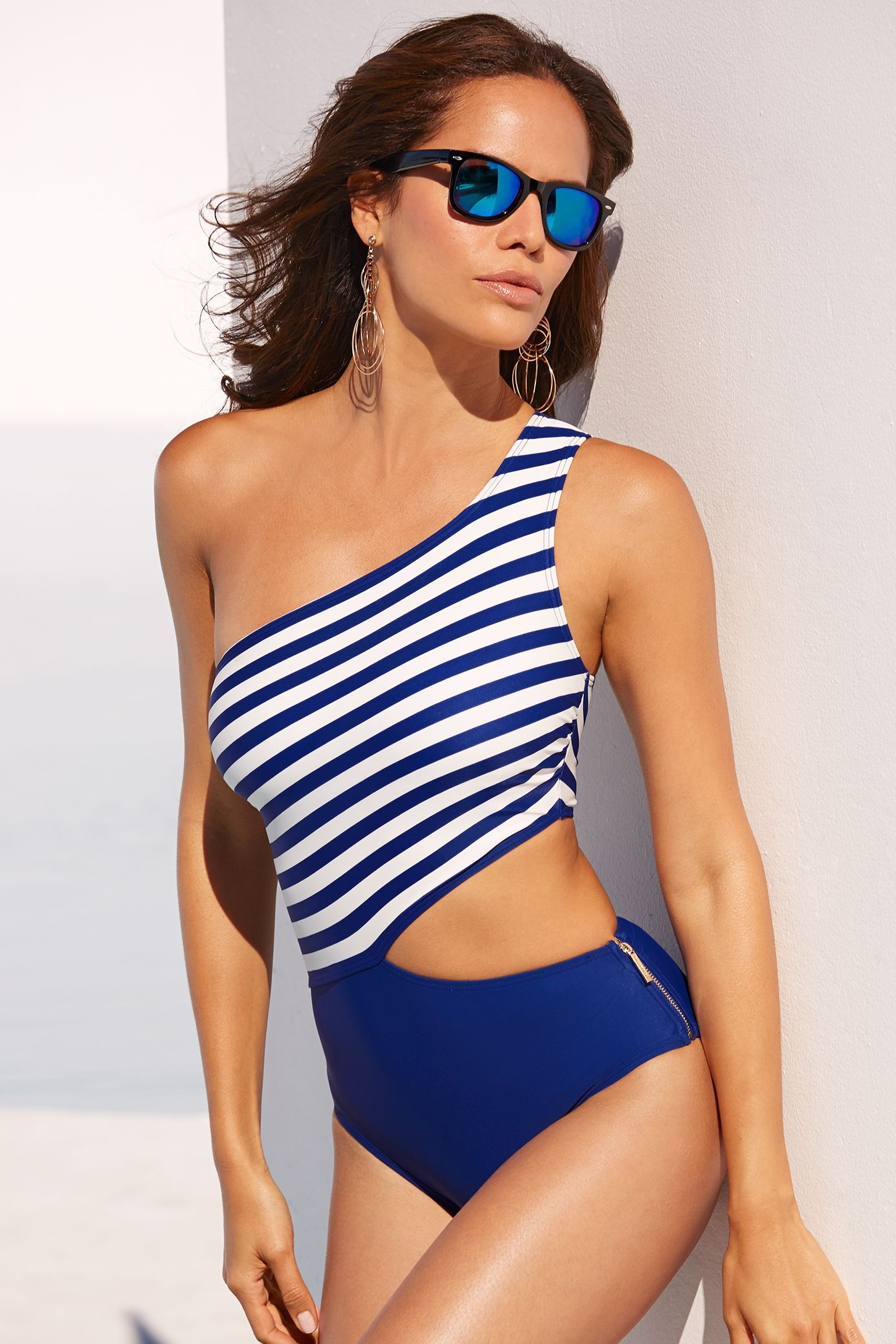 fdf66c8adc0fe Sexy Swimwear | Women's Blue and White One Shoulder Cutout One-Piece  Swimsuit by Michael Kors.