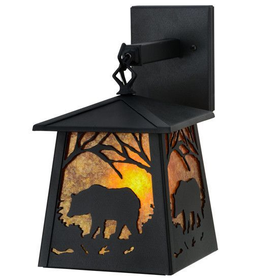 "7""W Bear At Dawn Indoor & Outdoor Hanging Wall Sconce"