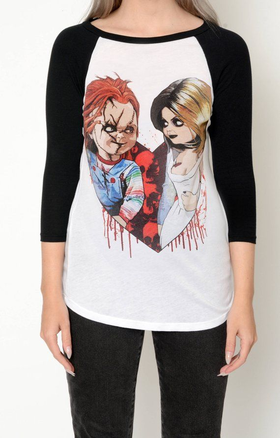 2d0bad6e9 Horror Chucky and Tiffany Baseball Tee Shirt (Women) | Products in ...