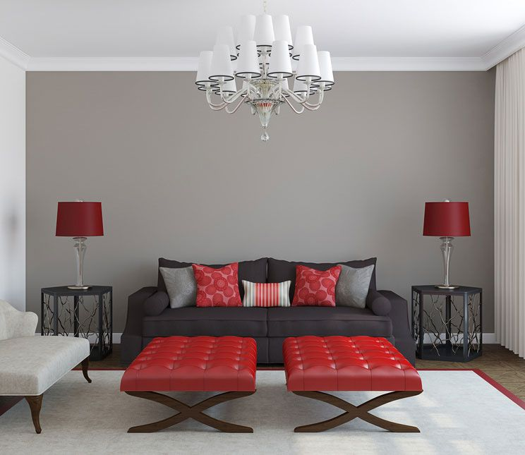 red furniture ideas. all 4 walls grey and black furniture with red accents ideas