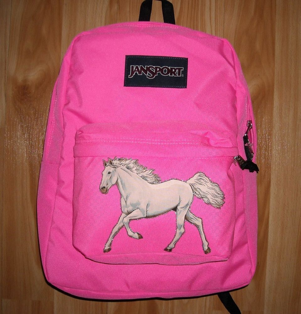 Girls HORSE Backpack~JanSport~NWT~Fluorescent PINK~White HORSE ...