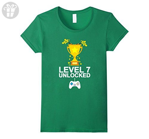 Womens Funny 7th Birthday Level 7 Unlocked T-shirt Gamer Gift Kid Medium Kelly Green - Birthday shirts (*Amazon Partner-Link)