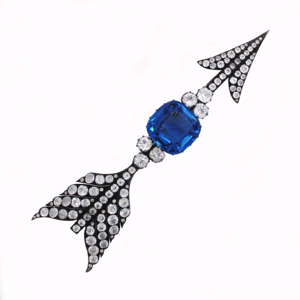 """An Antique Russian Paste Arrow Brooch St. Petersburg, c. 1870.  [Although this is a paste """"fake"""" gem design, I think it is interesting.]"""