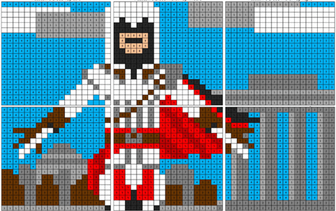 Video Game Color By Number Coloring Squared Assassins Creed Artwork Creed Color Activities