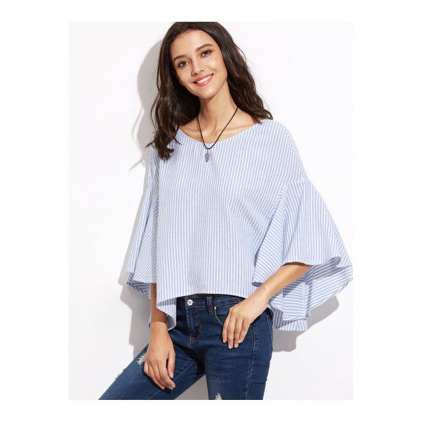 7518e89a8f SheIn(sheinside) Blue Striped Tied V Back Oversized Bell Sleeve Top ($13) ❤  liked on Polyvore featuring tops, blouses, blue, 3/4 sleeve tops, collar  blouse ...
