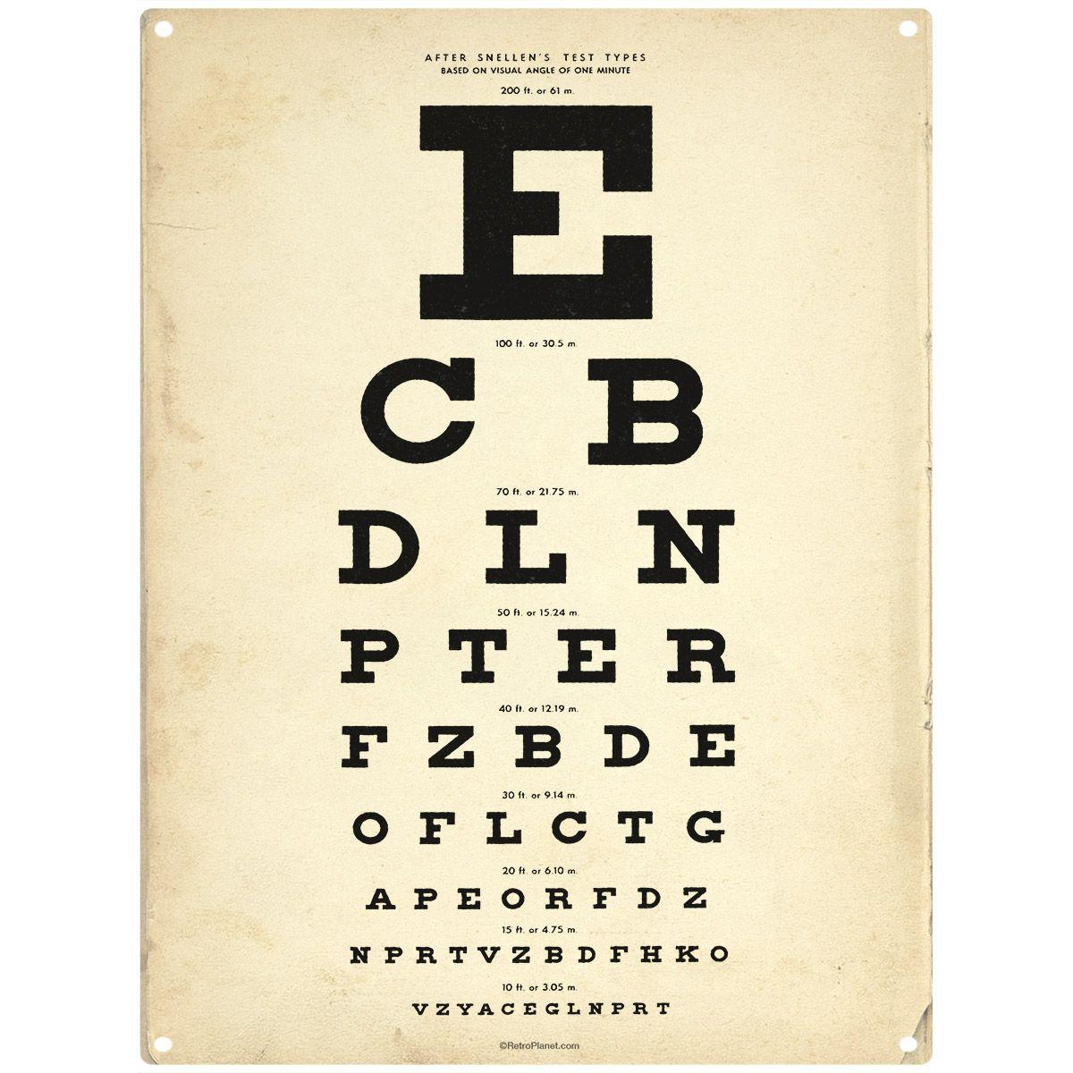 Eye Test Chart Steel Sign Retro Bathroom Decorating Ideas