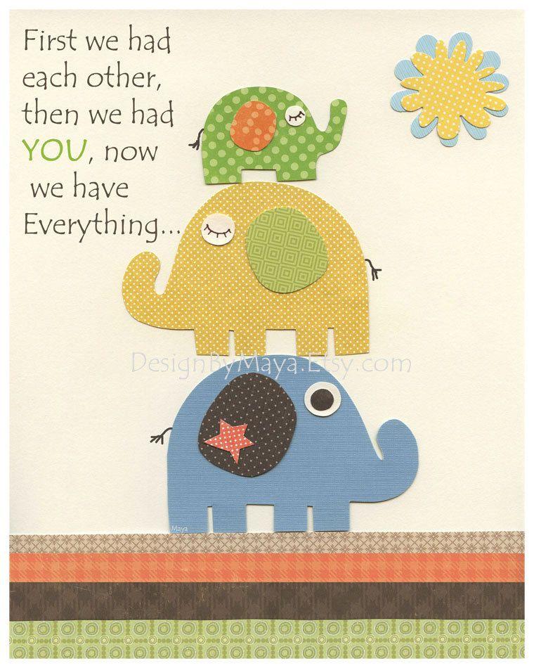 Nursery wall art print, Baby Room Decor, elephant ...First we had ...