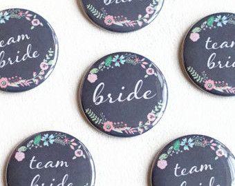 Rustic Wedding, Team Bride Pins, Floral Button, Chalkboard Badge, Wedding Name Pin, Bride Button, Hen Night, Bachelorette Party