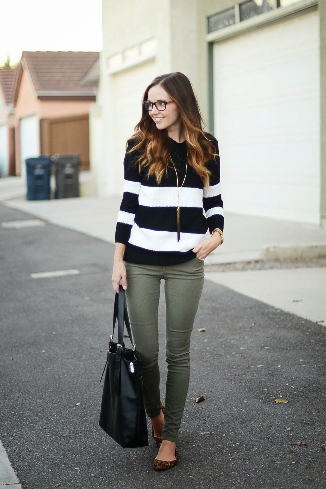 Not Sure What To Pair With Your Olive Toned Skinnies This Fall Keep It Simple Black White Stripes A Long Pendant Necklace