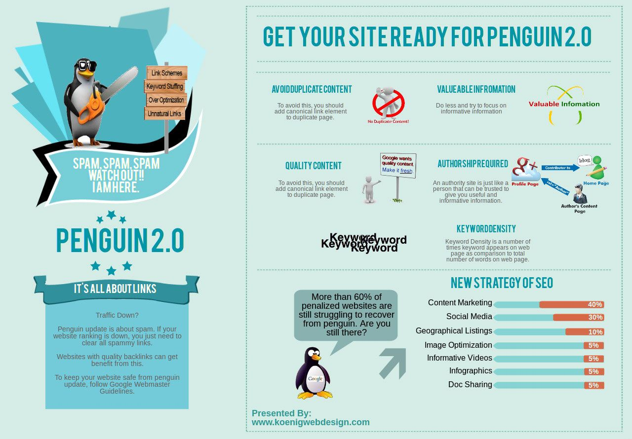 Safe Up Your Website For Penguin Update 2.0 #Infographic | A cool looking penguin with sunglasses and a chainsaw is enough for me to share this otherwise not too hot grafic on Penguin 2.0 So think of what you can do to get your graphics shared even if the content is mediocre. | Ich teile diese Grafik wg des coolen Pinguins mit Sonnenbrille und Kettensäge. Denken Sie also drüber nach, wie Sie dem Teilen Ihrer Grafiken nachhelfen können - auch bei minderer Qualität des Inhaltes, wie in diesem…
