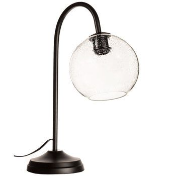 Curved Black Metal Lamp With Bubble Glass Shade Room AdditionsIndustrial LivingGlass ShadesBlack MetalPendant LampHobby LobbyGuest