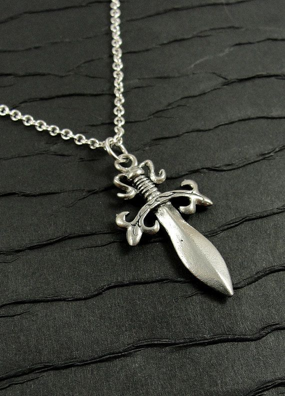 Medieval Dagger Necklace Silver Plated Charm by treasuredcharms, $10.00