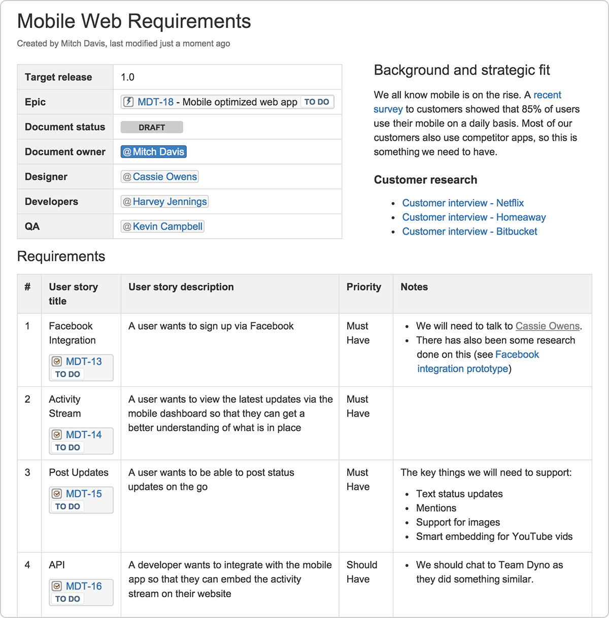 Example Product Requirements Document Atlassian Agile
