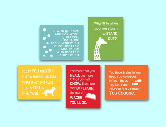 Dr Seuss Quotes Prints Childrens Kids Wall Art by 7WondersDesign...