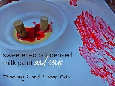 Teaching 2 and 3 Year Olds: Preschool Art: Stamping Circles with Milk Paint