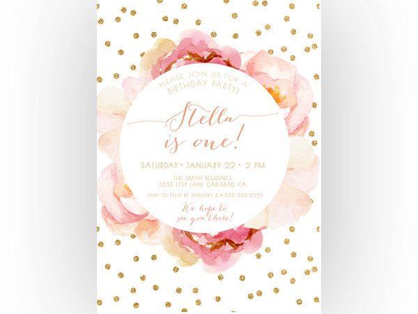 girl birthday invitation, pink and gold, boho, unique, watercolor, Birthday invitations