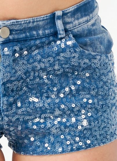 Sequin Embellished Denim Shorts #shopathomejcpcontest