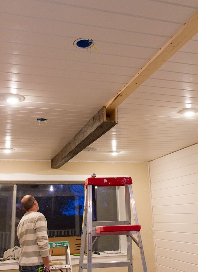 Fake beam easy to install and can hide wiring so you can for Faux wood ceiling planks