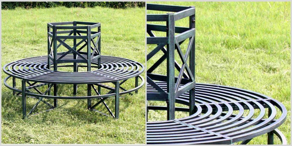 Super Round Metal Tree Bench Green Garden Outdoor Seat Chair Alphanode Cool Chair Designs And Ideas Alphanodeonline