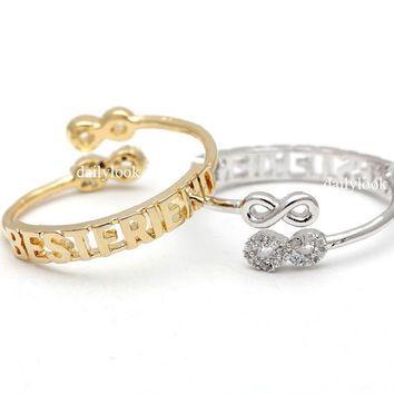 best friends infinity ring, adjustable in pinkgold