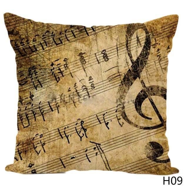Music Score Pillow Case Piano Keyboard Notes Couch Cushion Cover Home Decorative