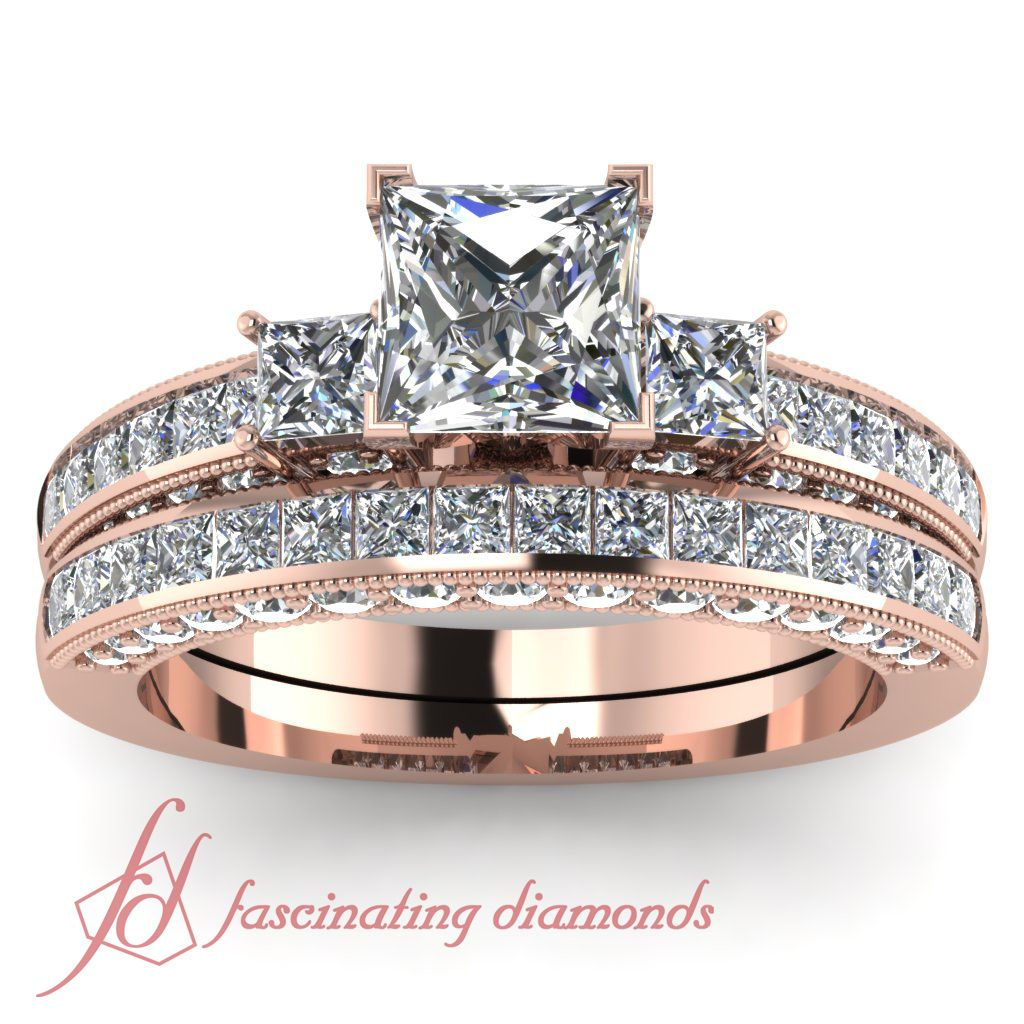 Princess Cut Diamond Wedding Ring Set In Channel Setting In Rose Gold Metal  This Is The