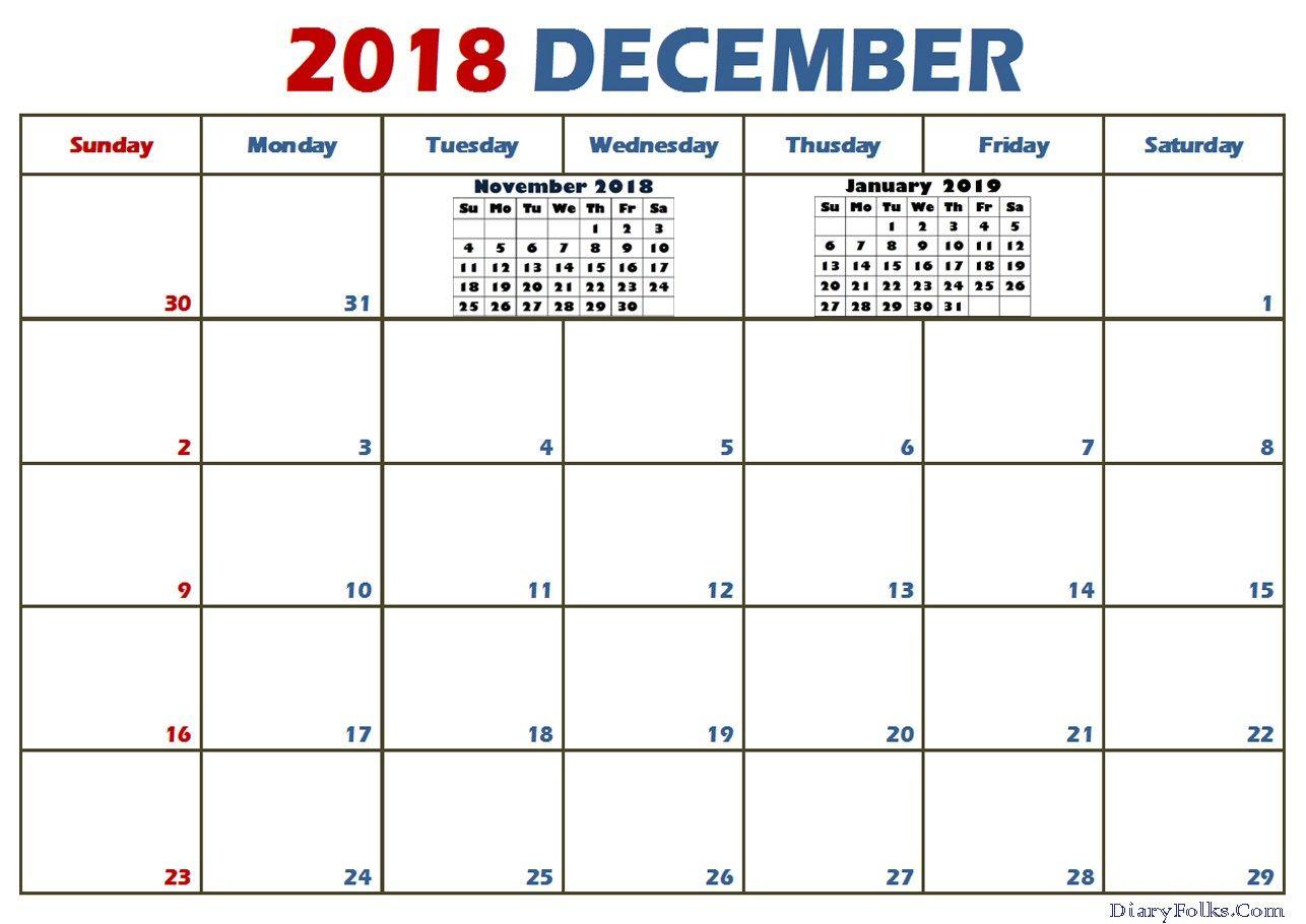December 2018 Calendar With Holidays Printable Usa Uk India Canada