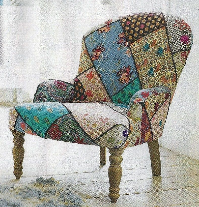 Found this pic in an English magazine, here in NZ - may have to find an old chair and reupholster it something like this - crazy patch maybe?