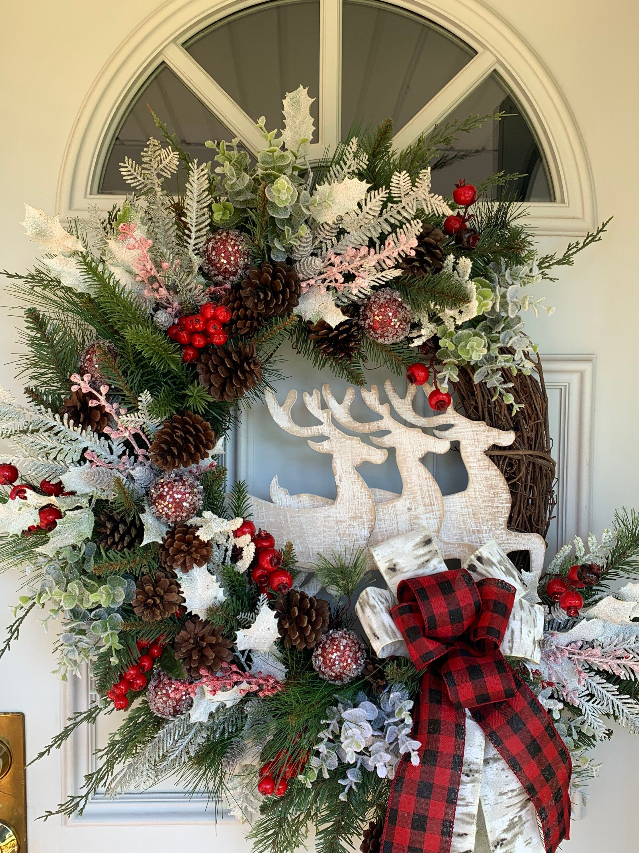 Excited to share this item from my #etsy shop: Christmas Wreath, Holiday Wreath, Deer wreath, country Christmas Wreath, buffalo checkered wreath, grapevine wreath #merrychristmaswrea #buffalocheckered #reindeerwreath #christmasdecor #christmaswreath #holidaywreath #berrywreath #holidayseason #frontdoordecor