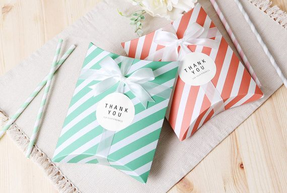 10 Stripe Pillow Boxes Small Boxes Flat Boxes Favor Boxes