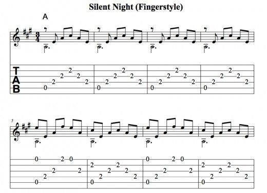 Easy Guitar Christmas Songs Silent Night Chords Tab Melody