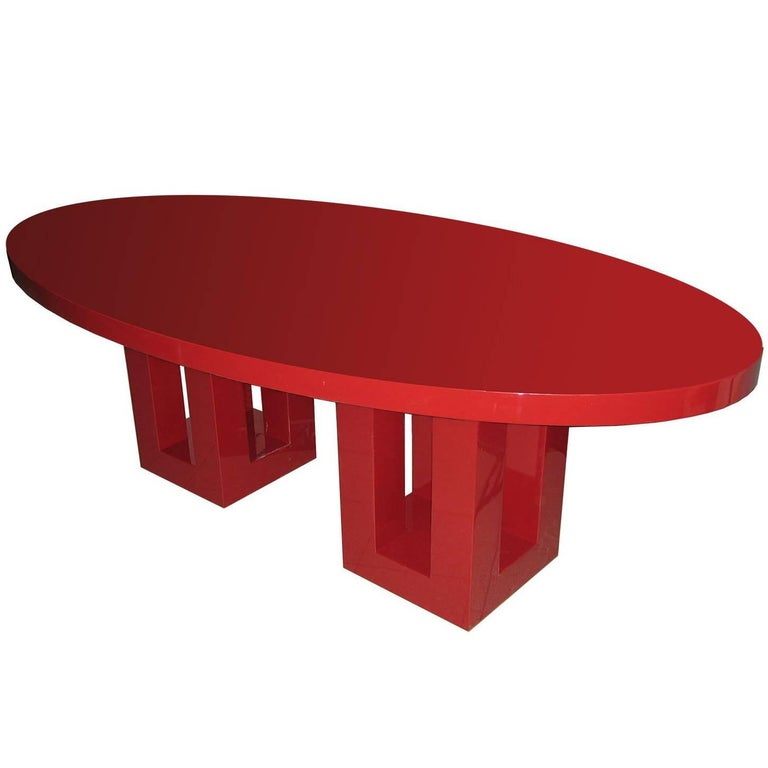 Large Red Lacquer Dinning Table By Francois Champsaur Vintage Dining Room Table Oval Dinning Table Oval Table Dining