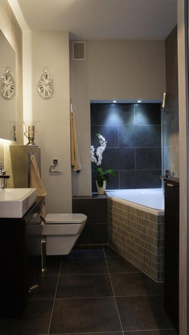 Inspirational kleines bad einrichten eckbadewanne wandnische einbauleuchten dunkelgraue bodenfliesen