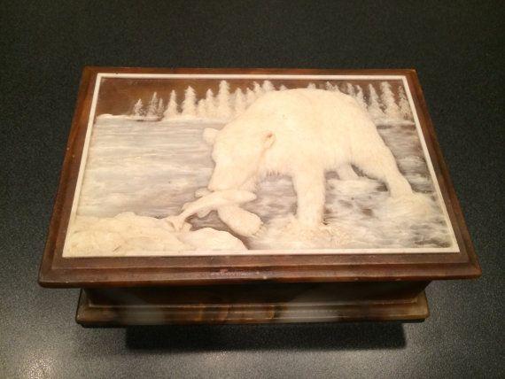 Polar Bear Image Wooden Jewellery Trinket Box