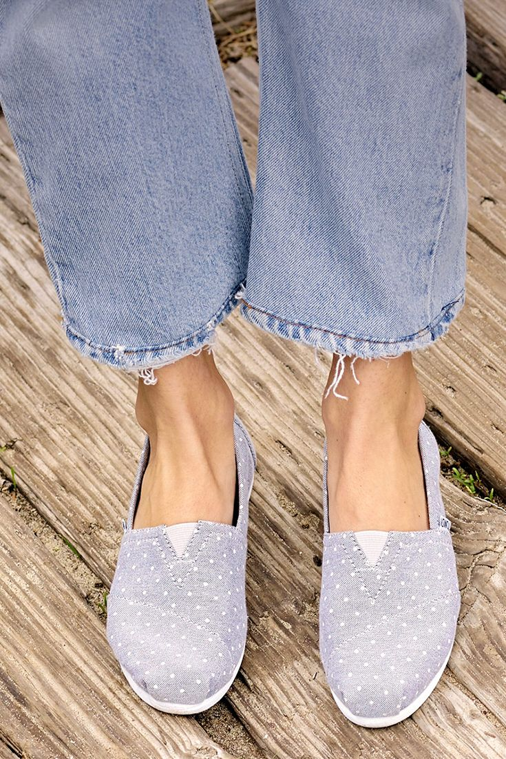 c4ddb63cbad Grey chambray with polka dots. What more could you want for your TOMS  Classic slip-on shoes
