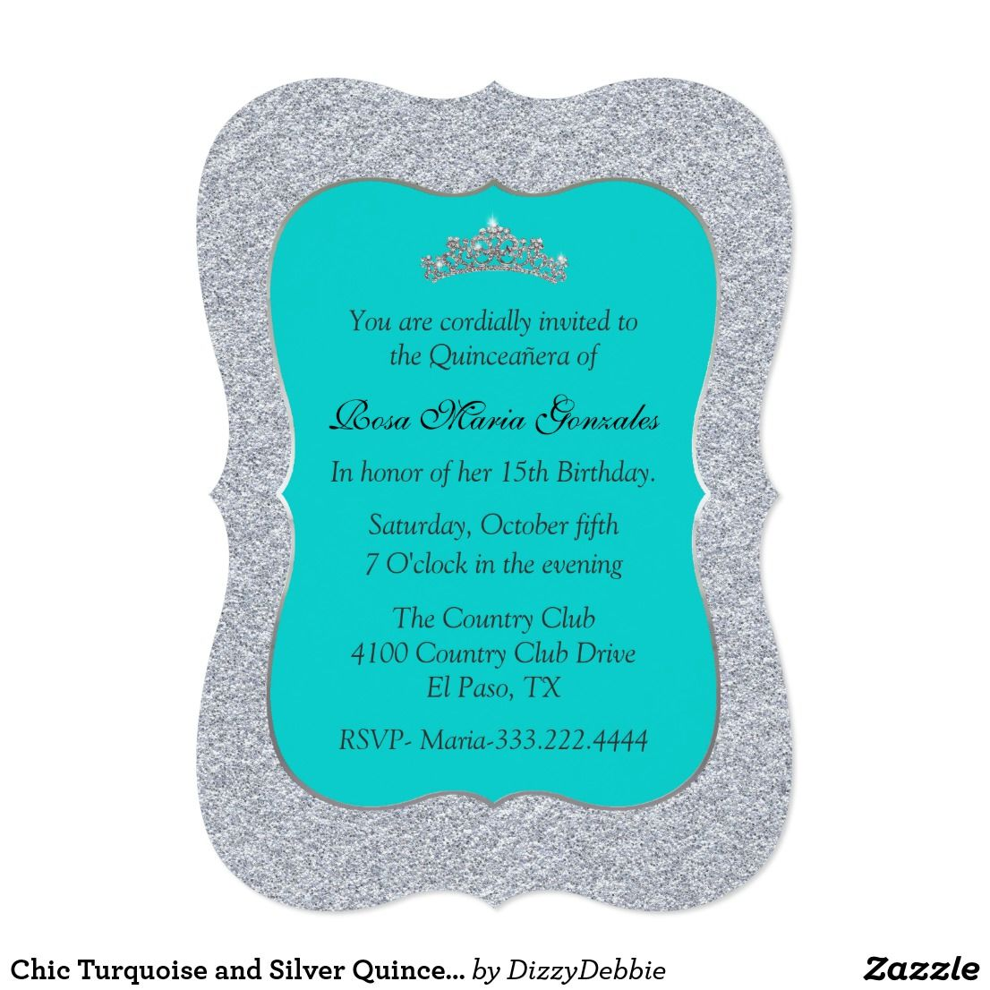 Chic Turquoise And Silver Quinceanera Invitation Glitzy