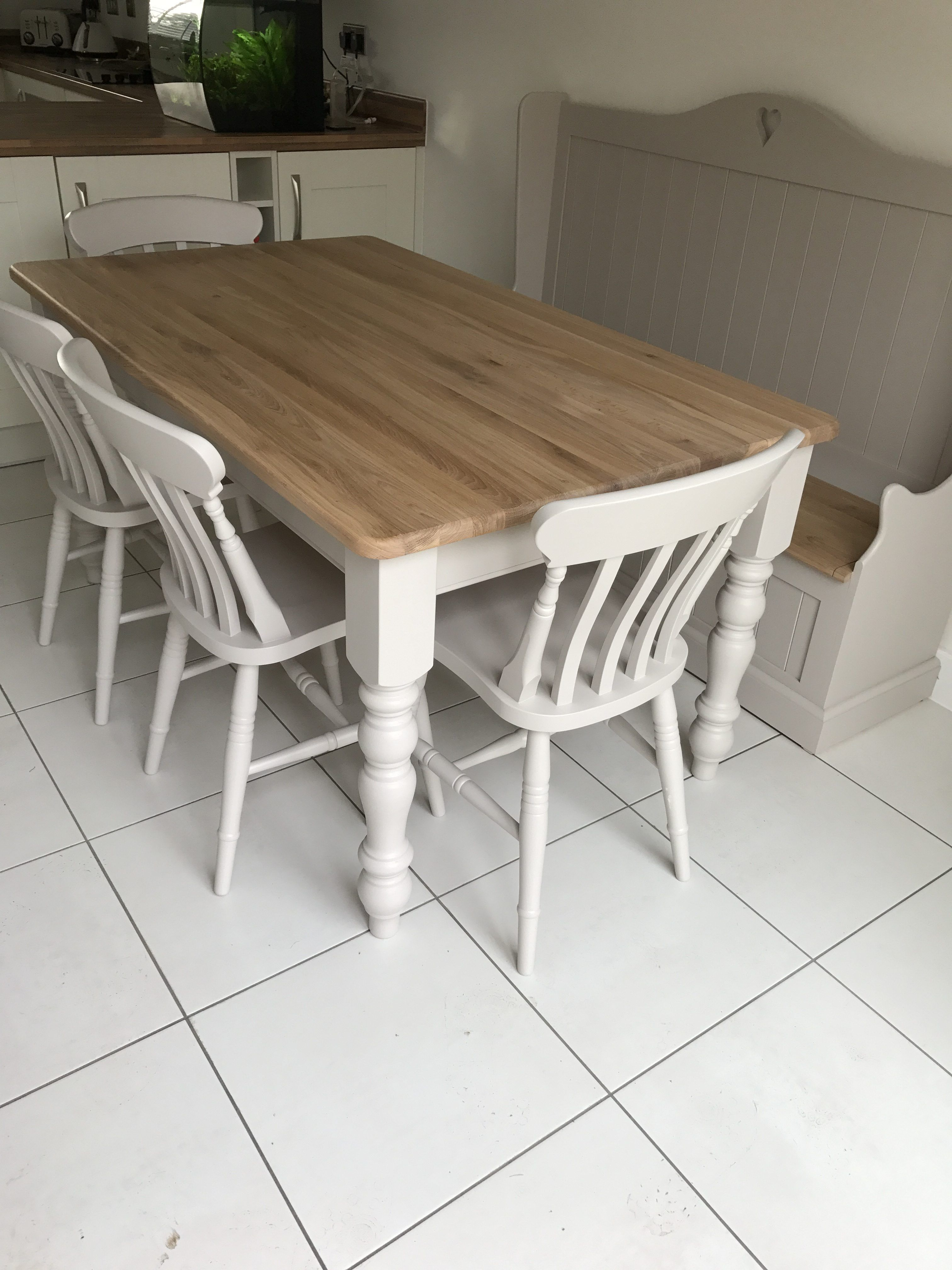 Solid Oak Table Set 5x3ft With Monks Bench Country Kitchen Tables Solid Oak Table Oak Table