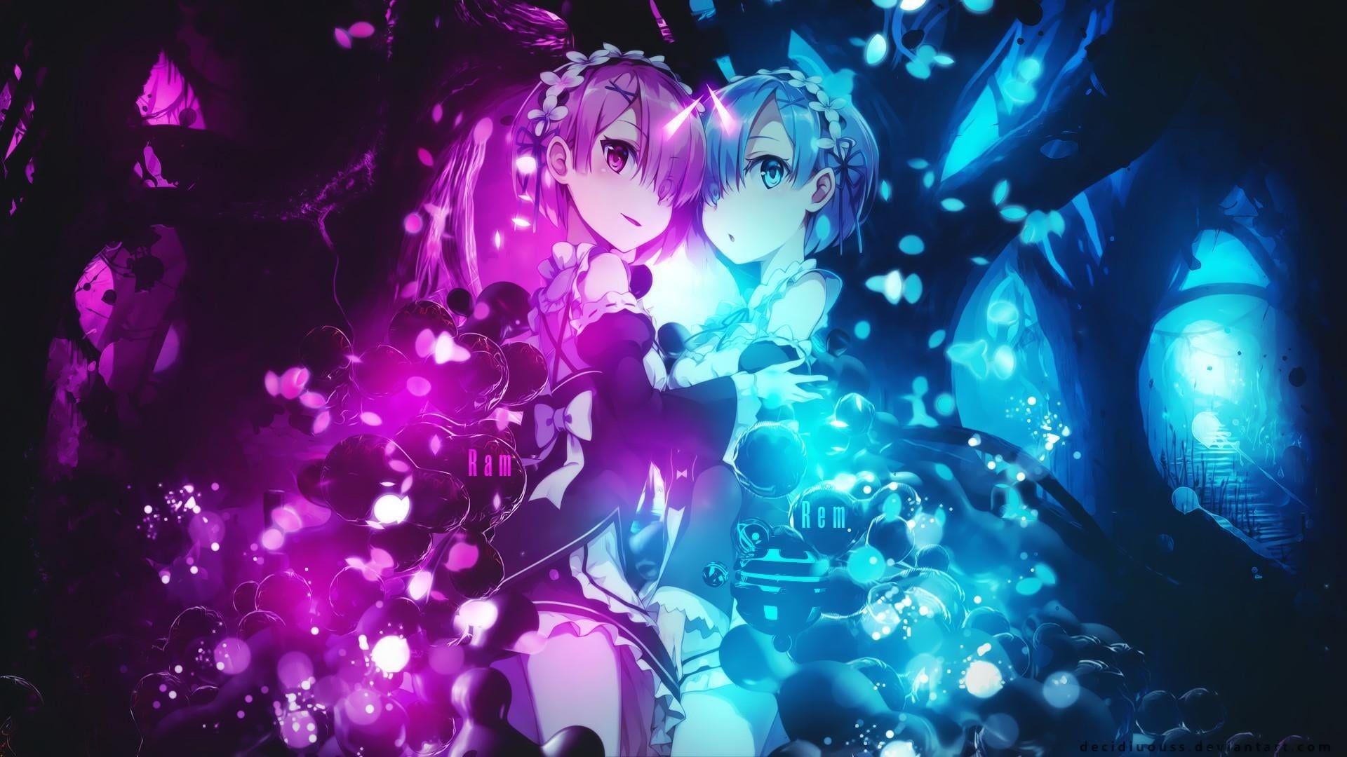 HD wallpaper: re:zero kara hajimeru isekai seikatsu, rem, ram, anime, illuminated