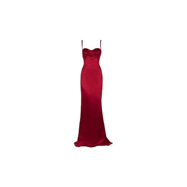 Dolce & Gabbana Floor-length silk-satin gown (€840) ❤ liked on Polyvore featuring dresses, gowns, vestidos, long dresses, red dresses, floor length ball gowns, long spaghetti strap dress, red floor length gown, spaghetti strap dress and lace up dress