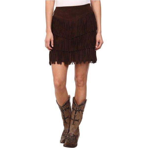 b57d036fd4 Stetson Pig Suede Fringe Skirt Women's Skirt, Brown ($136) ❤ liked on  Polyvore