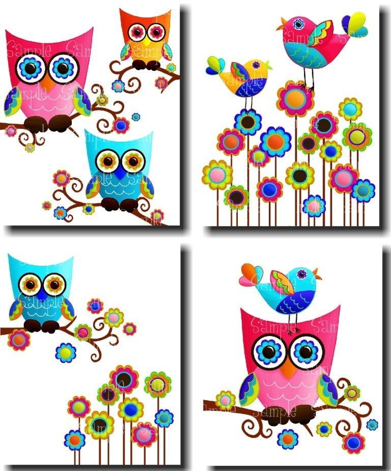 Set Of 4 Psychedelic Owl And Birdies Girls Bedroom 8x10