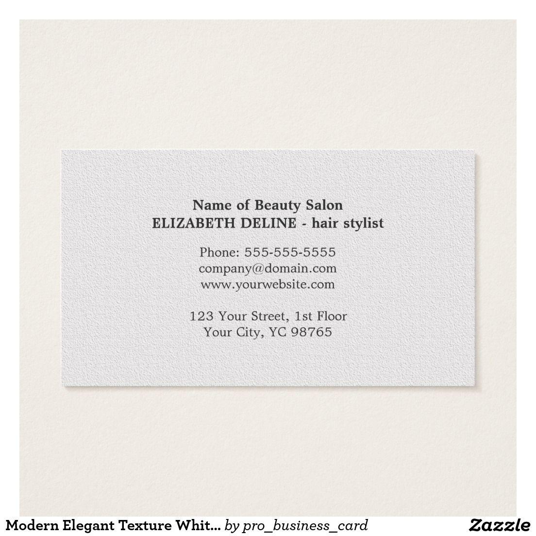 Modern Elegant Texture White Hair Stylist Business Card | White ...
