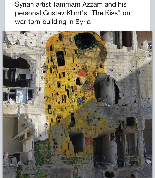 Syrian artist decorates the building with Klimt