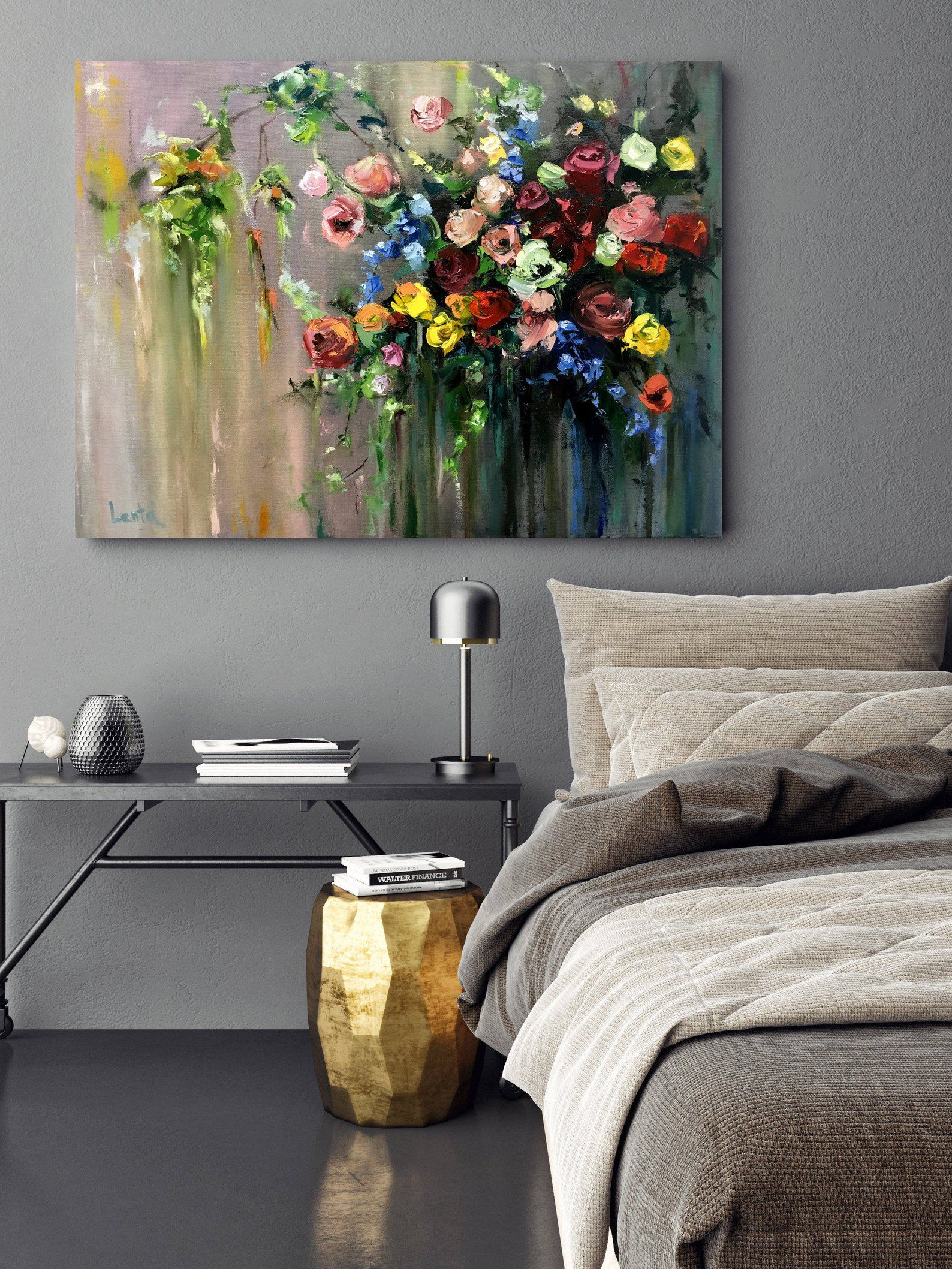Colorfull flowers oil painting handmade art original art canvas art original hand paint - Cuadros para el comedor ...