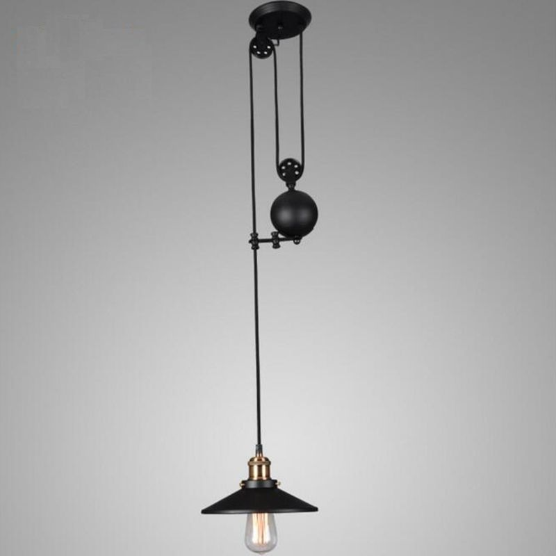 LuKLoy Pendant Lights Lamp Shade, Industrial Pulley Adjustable Wire Retractable  Pendant Lamp Light For Cafe